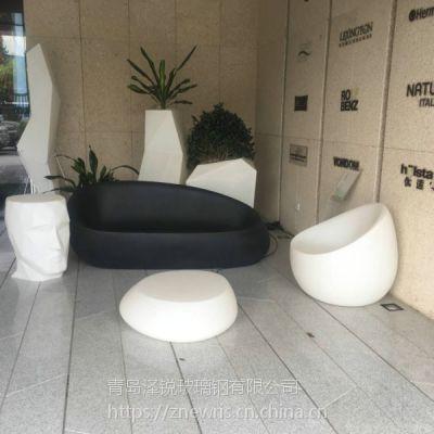 商场玻璃钢美陈椅 玻璃钢花盆休闲椅美陈