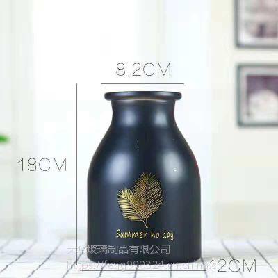 宏华创意简约玻璃花瓶透明烫金黑色水培植物花瓶容器客厅插花装饰摆件