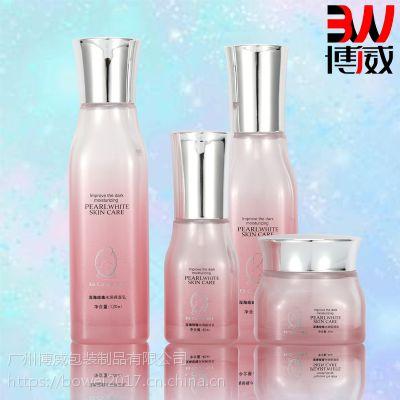 广州化妆品包材供应商玻璃瓶套装乳液膏霜喷雾泵头化妆品瓶现货