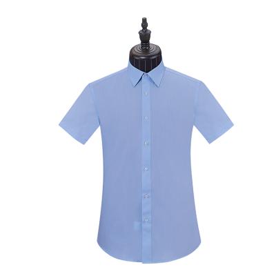 贵州男衬衣定制,商务衬衫订做,行政夏装,QHC-3053D蓝色竹纤维正规领短袖男衬衣