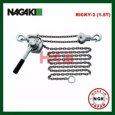 【日本NAGAKI正品】RICKY-3型铝合金手扳葫芦 1.5T铝合金链条手扳葫芦