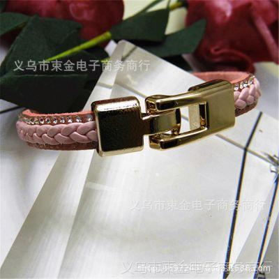 欧美创意时尚手镯  烫钻皮革柔软个性单圈PU绳男女手链 速卖通