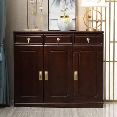 厂家直销新中式实木三门鞋柜隔断柜古典中式玄关柜家用装饰收纳柜