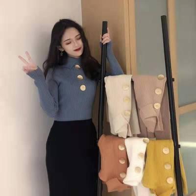 长袖针织衫女2019秋装款复古优雅V领纯色紧身薄羊毛衫CHIC上衣
