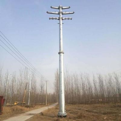 漠河市高压输电终端杆三回路热镀锌110kv转角钢管塔