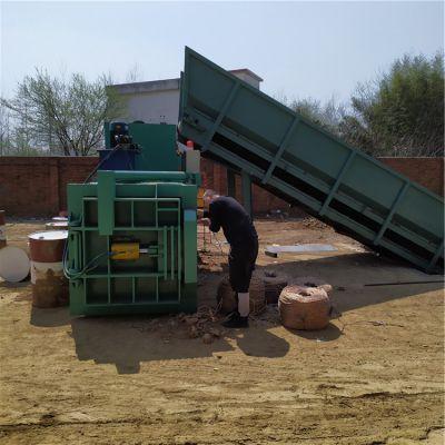 废纸板压缩打包机 卧式全自动油漆桶打包机 压缩海绵下脚料打捆机价格