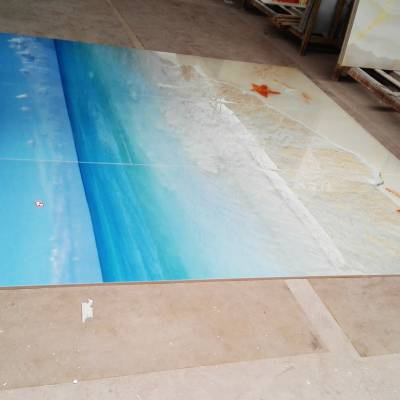 椰树海洋景色立体地板砖订制加工