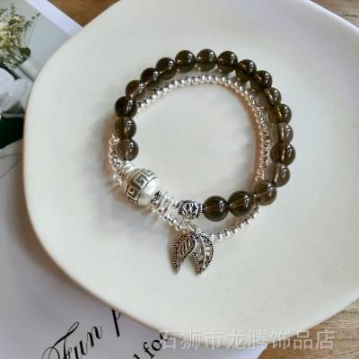 新款原创手工饰品天然茶水晶多圈纯银叶子吊坠串珠手链女一件代发