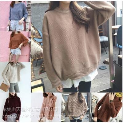 四川成都批发市场亏本清货一批时尚韩版女装毛衣两三块钱的毛衣批发长款毛衣针织衫