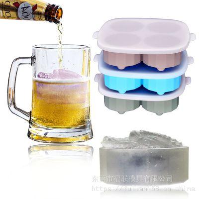 鳄鱼硅胶冰格带盖 4连鳄鱼冰格 厨具冰格铺食盒DIY冰膜 冰块模具