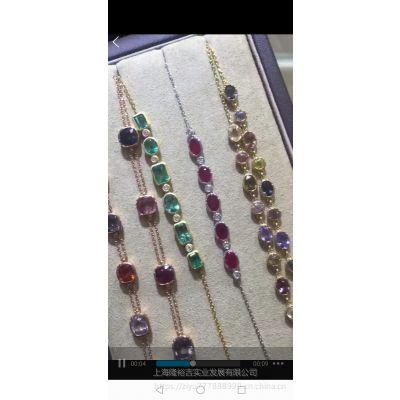 精工工艺多种彩色宝石红宝石蓝宝石尖晶石K金手链批发定制加工