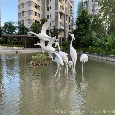 中山雅居乐动物仙鹤雕塑 玻璃钢景观动物雕塑
