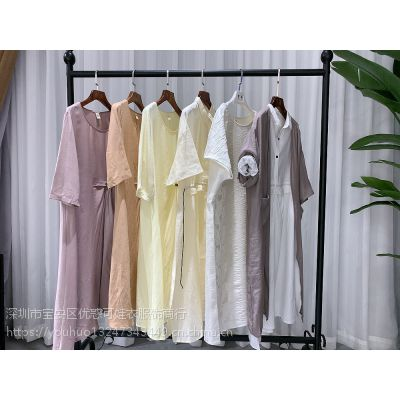 杭州一二线女装品牌休闲棉麻女装货源麻衣坊夏装专柜***
