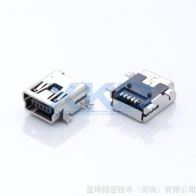 USB连接器 MINIUSB 5P母座 全贴前插后贴 四脚插板 迷你5P贴板
