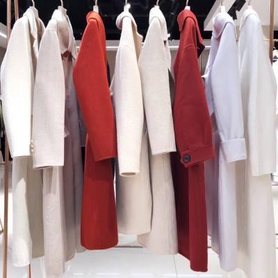 品牌折扣女装双排扣双面尼羊绒大衣 工厂尾货剪标折扣批发走份