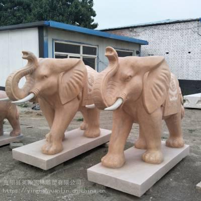 英翰雕刻供应晚霞红石雕大象镇宅辟邪吉祥如意一对石大象