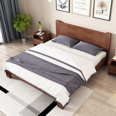 北欧实木床白蜡木床1.5米矮床主卧家具1.8米双人床 厂家直销大bed