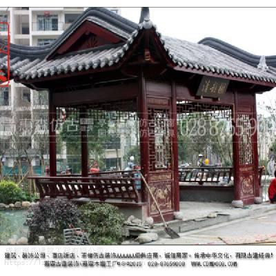 新中式木质长廊_寺庙六角木质长廊_成都惠森新中式长廊厂家
