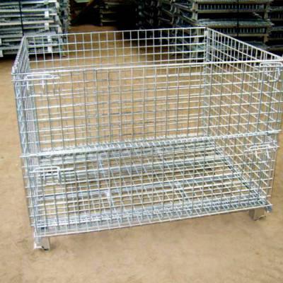 威海仓储笼 仓储 车间 物流专用周转笼子 可折叠带轮仓储笼