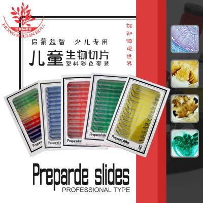 厂家直销红黄蓝绿四盒塑料套装每盒12片儿童专用塑料生物切片标本
