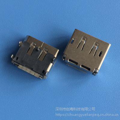 DispalyPort高清音频接口插座 DP20P 板上四脚插板 前插后贴DIP+SMT 直边铜壳