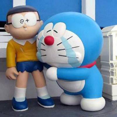 室内外摆件装饰创意卡通哆啦A梦蓝胖子造型玻璃钢雕塑内透发光亮化公园