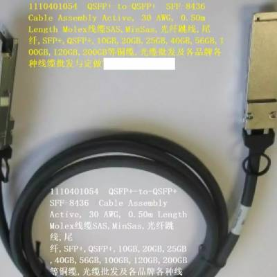 1110401054 QSFP+-to-QSFP+ SFF-8436 30AWG, 0.5m高速电缆