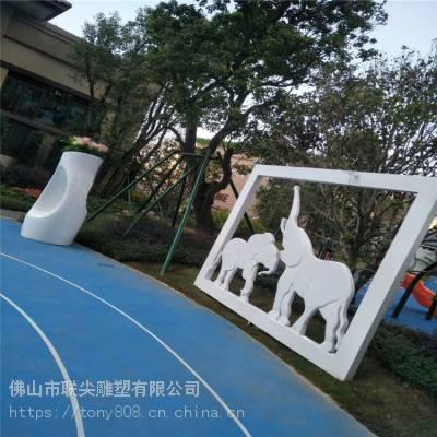 承接大型公园楼盘景观玻璃钢雕塑 大象造型雕塑 联尖玻璃钢大型雕塑厂商