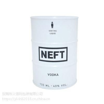 义信利y90圆形俄罗斯伏特加白酒铁罐 定制VODKA包装罐 700ml高度酒金属罐 白酒罐通用包装