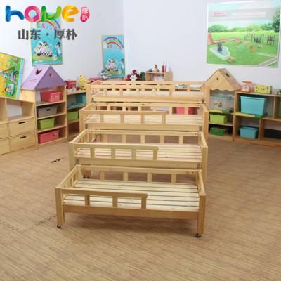 幼儿园床厂家直销 山东厚朴实木幼儿园四层推拉午睡儿童床