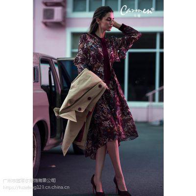 广州时尚卡蔓17秋冬品牌女装折扣特价走份批发工厂直销货源