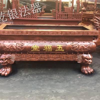 定制寺庙大香炉龙头款式长方形铸铁插香炉 祠堂 道教 景区大型露天铜香炉