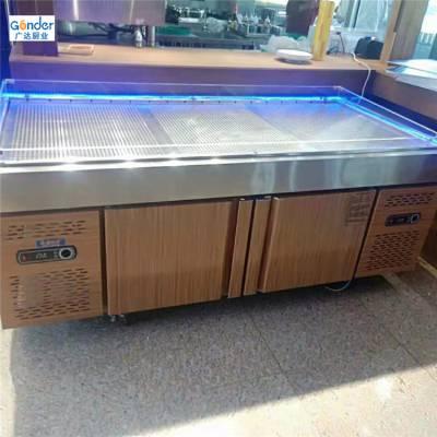 不锈钢海鲜鱼肉冰台 超市冷藏储冰展示台冰鲜台 冷冻自助冷柜