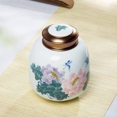 手绘白瓷茶叶罐大中小号景德镇青花瓷密封罐存储物防潮散装茶罐茶盒