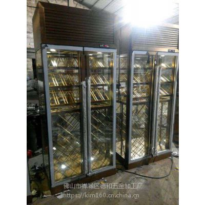 KTV不锈钢酒柜 会所玫瑰金不锈钢红酒柜地中海式 定制厂家价格