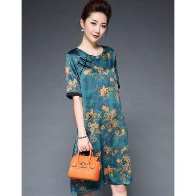 中式复古风高端丝绸连衣裙品牌淑雅丽仿铜氨丝连衣裙走份批发