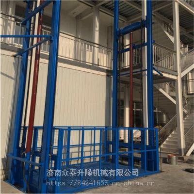 山东济阳升降机厂家 工厂载重2吨升高5米导轨式液压升降货梯多少钱