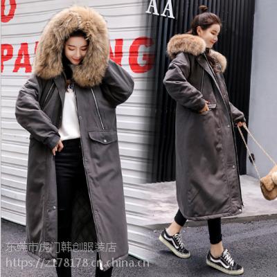 广州处理低价女装棉袄时尚长款羽绒服韩版女装棉衣厂家供应大量现货库存批发