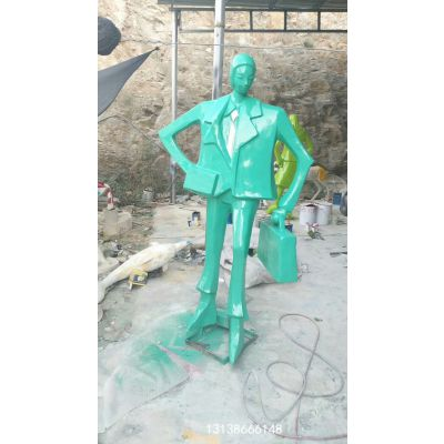 西装革履提公文包广场抽象人物玻璃钢摆件/公司男白领塑像上司主管雕塑男销售员雕像树脂彩绘模型
