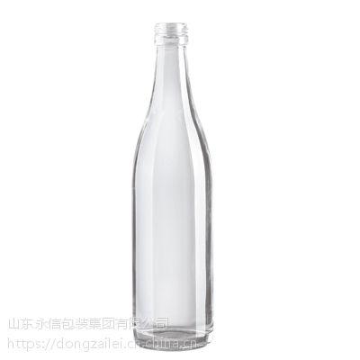 郓城白酒瓶生产厂家供应500ml1斤装高中低档透明玻璃瓶 烤花丝印烫金酒瓶