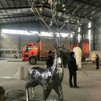 梅花鹿雕塑 字母艺术摆件 字母梅花鹿雕塑厂家 金属动物类