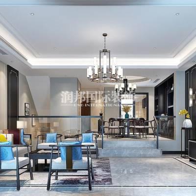 景枫你山221平方米新中式别墅装修效果图-南京润邦国际装饰
