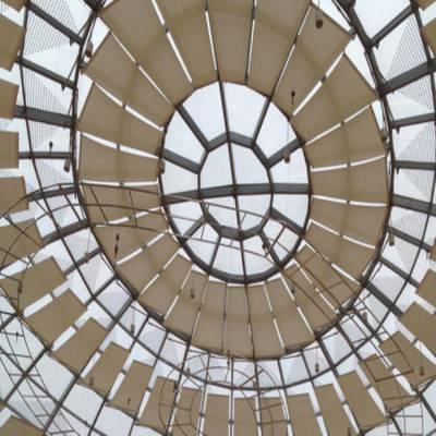 天津商场遮阳帘-商场电动折叠遮阳帘商业广场中庭采光顶天棚帘效果