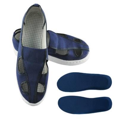 SPU底透气性蓝色帆布四眼鞋 防静电鞋帆布四眼鞋蓝色四孔无尘鞋洁净防护工作透气