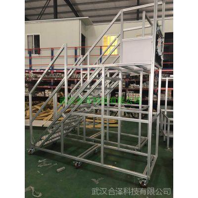 武汉合泽铝型材制品--登高梯,仓储物流专用可移动登高梯。