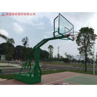 深圳体育馆纤维固定板篮球架 篮球架尺寸示意图