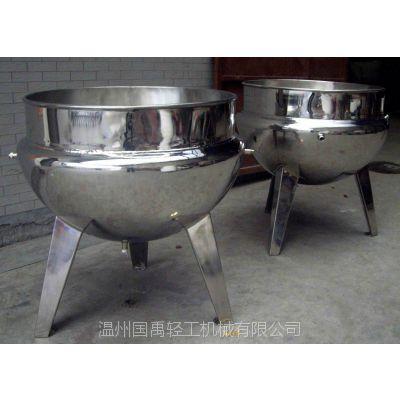 厂家直销 国禹不锈钢304立式 可倾式蒸汽加热夹层锅