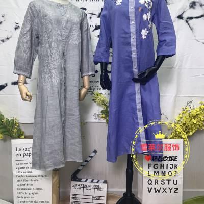 广州大码女装厂家直销箴言休闲款连衣裙尾货进货渠道多种面料新款组货包