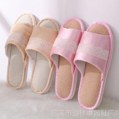 日韩风格清新亚麻拖鞋室内外按摩防滑拖鞋色丁亮光开口拖鞋工厂价