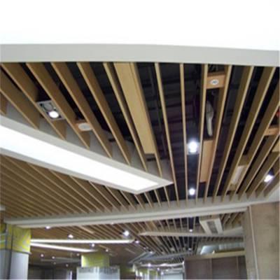木纹铝四方管天花-木纹型材装修天花